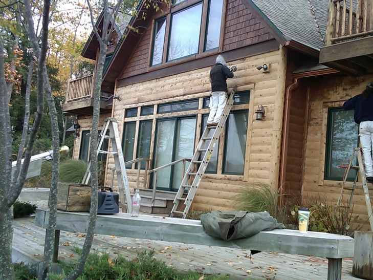Painting Staining Log Home Restoration